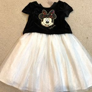Minnie Mouse velvet with sparkly tulle dress sz 6
